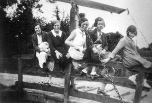 Young ladies on lift bridge 1937