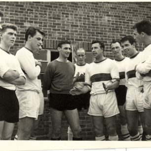 Bob Morton gives a team talk, mid 1960s