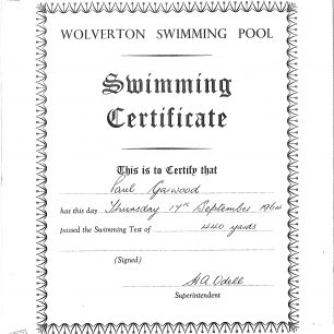 Paul Garwood swimming certificate