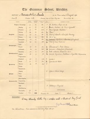 Thomas Neale's school report