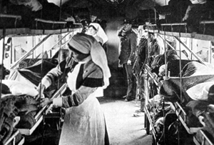 The Ambulance train, interior, medical staff and soldiers