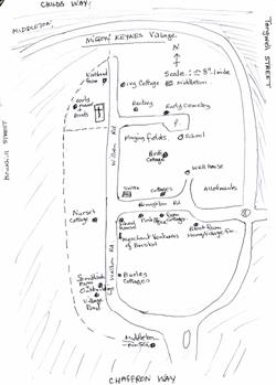 Drawn map of Milton Keynes Village