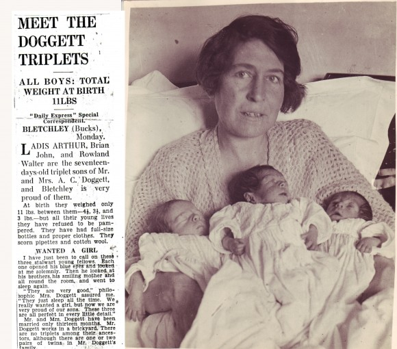 Newspaper clipping and photo of triplets with mother
