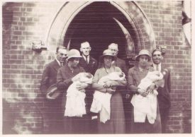 photograph of the triplets christening at st Martins church, fenny Stratford.