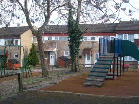 Playground near houses