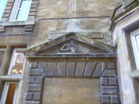 Carving of Monk over Doorway