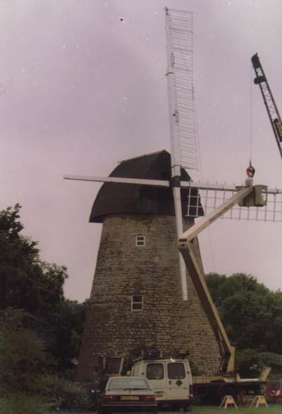 New sails being put on the windmill, 1995