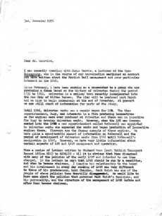 Draft letter from Margaret Broadhurst to Mr Gourvish, about his account of British Rail management and the London North Western Railway (1976).