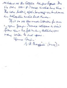 Letters from Viva Chappill to Margaret Broadhurst offering her reminiscences (1976).
