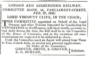 Northampton Mercury - Announcement of London Birmingham Railway meeting (1832).