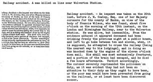 Newspaper - Report of a fatal railway accident near Wolverton Station (1838).