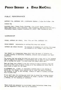 Notice of workshops and a public performance held by Ewan MacColl and Peggy Seeger at Stantonbury Campus (1976).
