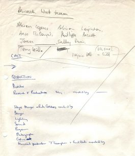 "Handwritten list of teams involved in the production of ""All Change"" (c1976)."