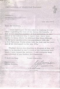 Letter from S.G. Morrison in reply to to Mr McEwan's letter regarding the bust of James McConnell (1978).
