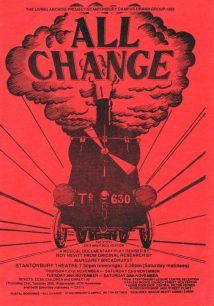 Flyer/booking form for performances of 'All Change' at Stantonbury Theatre (1985).