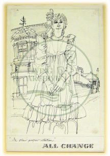 Character sketch by Eugene Fisk from 'All Change' dress rehearsal, titled '...in her proper station' (1982).