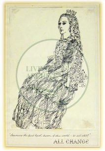 Character sketch of Queen Victoria by Eugene Fisk, titled 'Learning the first hard lesson of this world - to sit still (1982).
