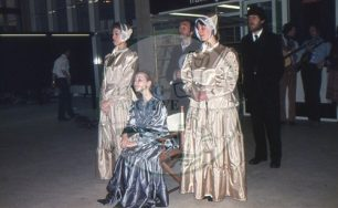 Photograph of the 'Royal party' from 'All Change' Act 2 Scene 1 (1982).
