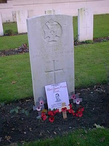 Two Colour photographs showing the headstone of Albert French.