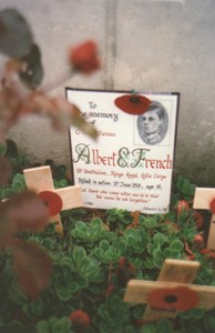 Colour photograph showing the headstone of Albert French