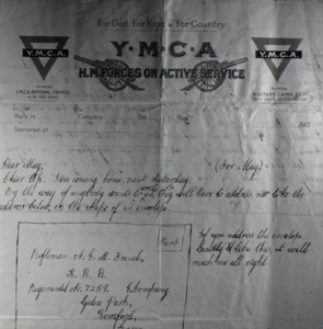 Photograph of letter on YMCA notepaper from Albert French