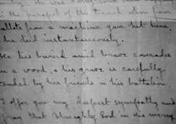 Photograph of passage from a letter about the death of Albert French dated June 1916