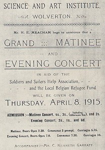 Black and white photograph of a poster for a Grand Matinee and Evening Concert