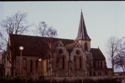 Colour photograph of the outside of a Church in Wolverton.