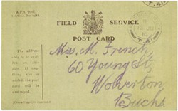 Field Service Postcard sent to May from Albert dated June 1916