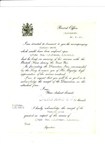 Official letter from the Record Office, Winchester dated 10th May 1921 sent with a Victory Medal