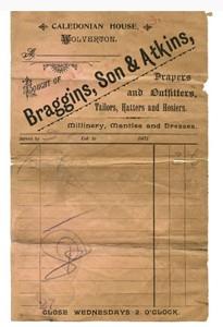 Receipt - Braggins, Son & Atkins, Wolverton