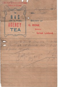 Receipt, The H & C (Home & Colonial) Agency Tea
