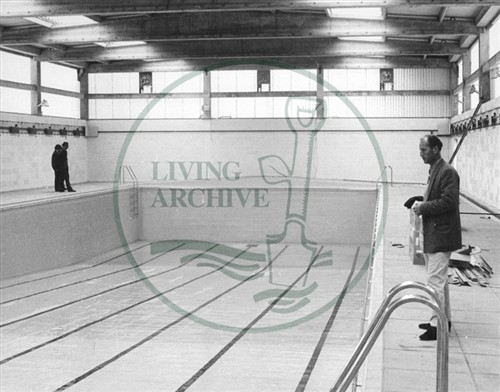 Inside the Queens Pool, Bletchley after the roof had been finished, before reopening to the public. Illustrative photograph supplied by kind permission of BCHI (Accession Ref: BLE/P/282). Original donated by Living Archive.