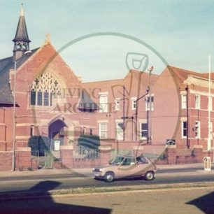 Methodist church and Music Centre (formerly U.D.C. Offices) Queensway, Bletchley,1978. Illustrative photograph supplied by kind permission of BCHI (Accession Ref: BLE/P/1365).