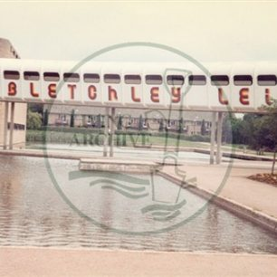 Bletchley Leisure Centre exterior, 1984. Illustrative photograph supplied by kind permission of BCHI (Accession Ref: BLE/P/2941).