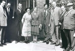 Group outside Dr. Madison's 'new model' surgery including Harold Hudson second from right, 1964. Photograph supplied by kind permission of BCHI (Accession Ref: BLE/P/301). Original donated by Living Archive.