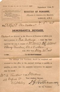 Albert Verney Thurlow's Dependants Pension
