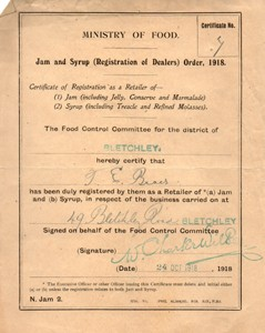 Certificate of registration for the retail of jam and syrup