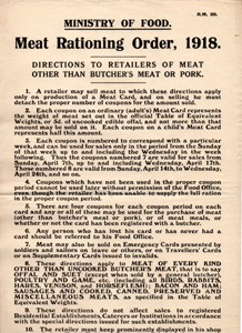 Ministry of Food directions to retailers of meat other than butcher's meat or pork