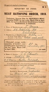 Meat Rationing Order, 1918