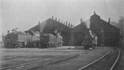 Photograph of trains at train sheds