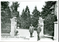 Postcard of the entrance to Staple Hall