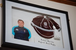 Photograph and England 2014 Deaf Rugby  cap of Joshua Sprules
