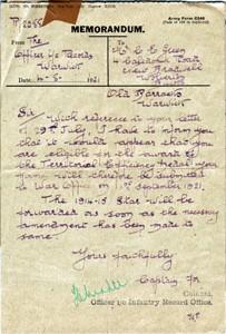 Memorandum regarding medals
