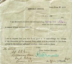 Memorandum accompanying 1914-1915 Star