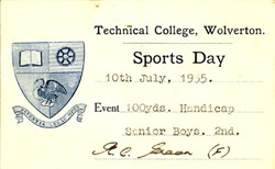 Sports Day Card from Technical College, Wolverton. 100 Yards. Handicap. Senior Boys