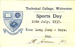 Sports Day Card from Technical College, Wolverton. Long Jump - Boys