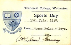 Sports Day Card from Technical College, Wolverton. House Relay - Boys