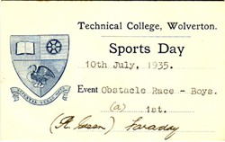 Sports Day Card from Technical College, Wolverton. Obstacle Race - Boys