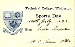 Sports Day Card from Technical College, Wolverton. Victor Ladorem